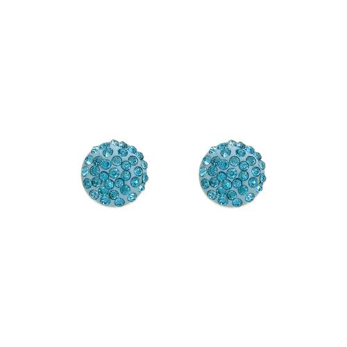 343-503BL Blue Flat Ball Enamel CZ Stud Earrings 8mm