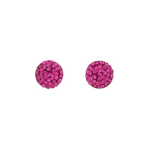 343-503PK Pink Flat Ball Enamel CZ Stud Earrings 8mm