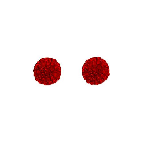 343-503RD Red Flat Ball Enamel CZ Stud Earrings 8mm