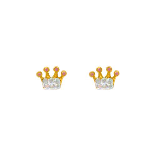 343-504 Crown Enamel CZ Stud Earrings