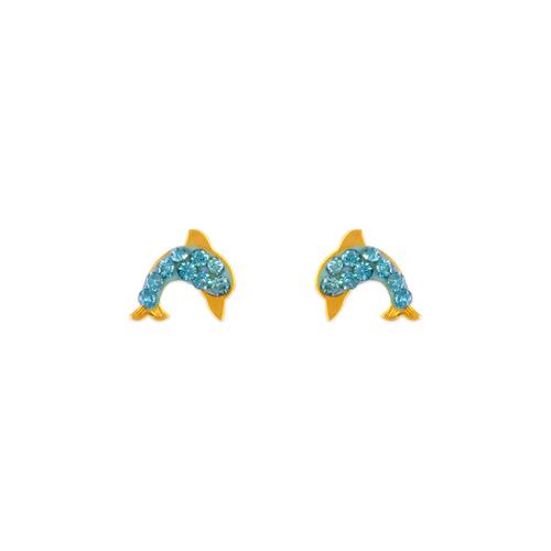 343-506BL Blue Dolphin Enamel CZ Stud Earrings