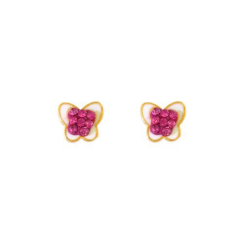343-507 Butterfly Enamel CZ Stud Earrings