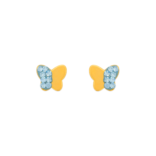 343-508BL Blue Butterfly Enamel CZ Stud Earrings