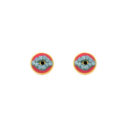 343-509 Evil Eye Enamel CZ Stud Earrings