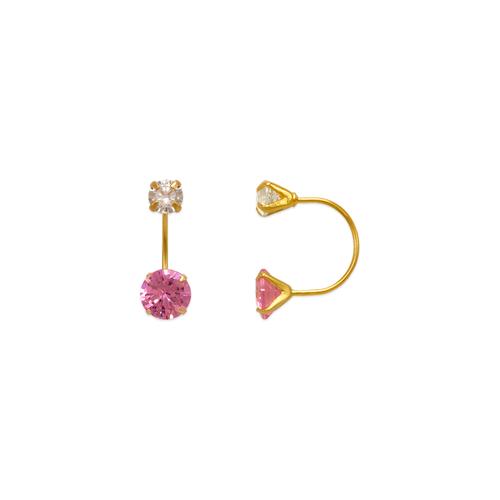343-602PK Pink Telephone CZ Stud Earrings