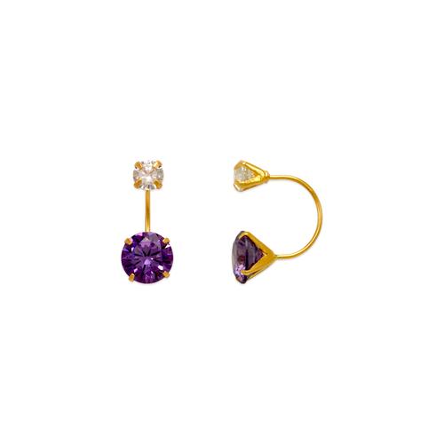 343-603PL Purple Telephone CZ Stud Earrings