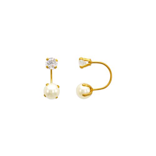 343-605 Pearl Telephone CZ Stud Earrings
