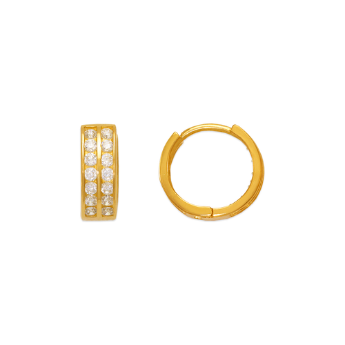 443-053 10mm Huggie CZ Earrings