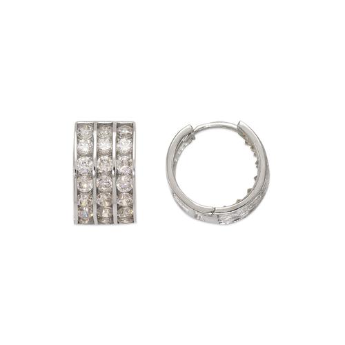 443-056W 12mm Huggie CZ Earrings