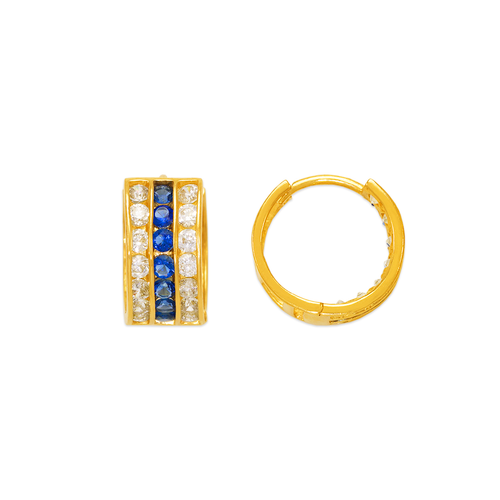 443-057BL 12mm Blue Huggie CZ Earrings