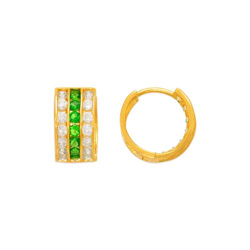 443-057GR 12mm Green Huggie CZ Earrings