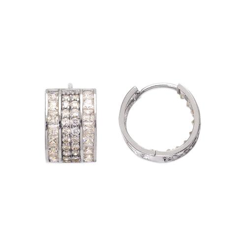 443-058W 14mm Huggie CZ Earrings