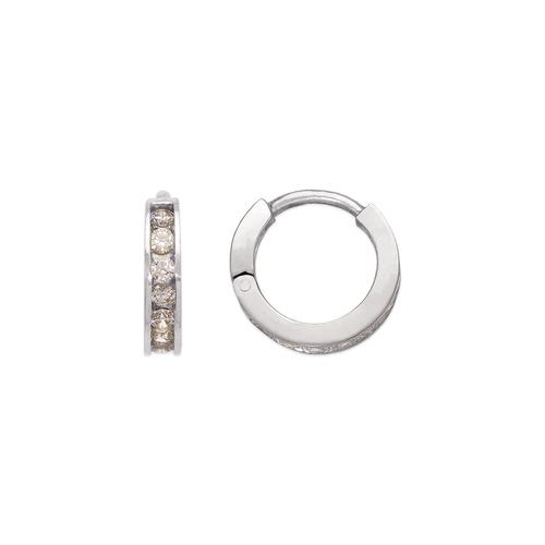 443-061W 12mm Huggie CZ Earrings