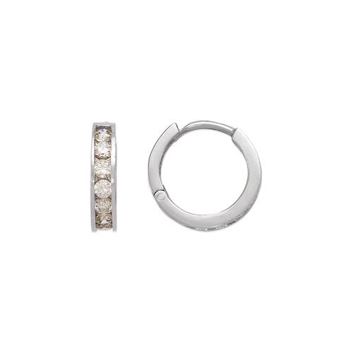 443-063W 13mm Huggie CZ Earrings
