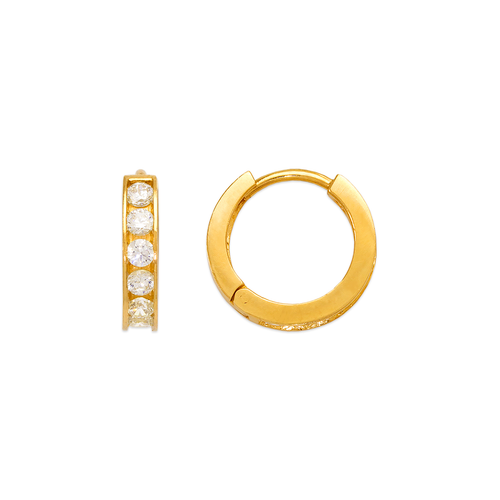 443-064 14mm Huggie CZ Earrings