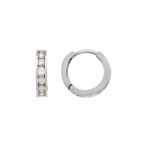 443-064W 14mm Huggie CZ Earrings