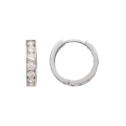443-065W 18mm Huggie CZ Earrings