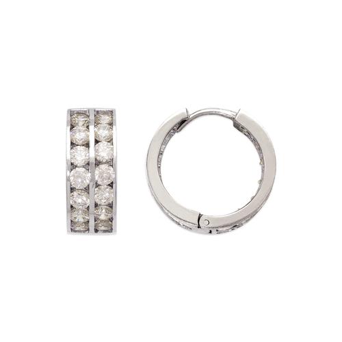 443-067W 18mm Huggie CZ Earrings