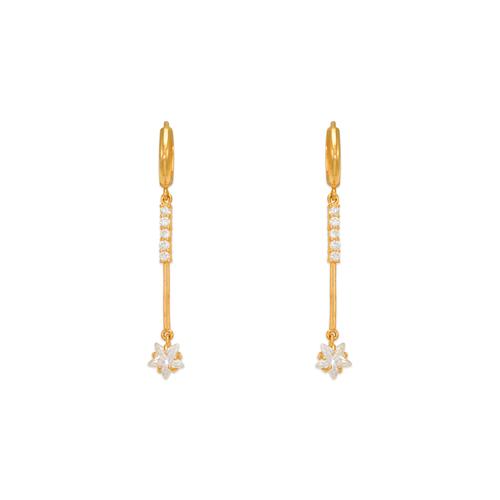 443-113 Fancy Flower Drop CZ Earrings