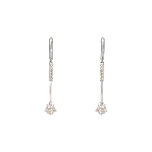 443-113W Fancy Flower Drop CZ Earrings