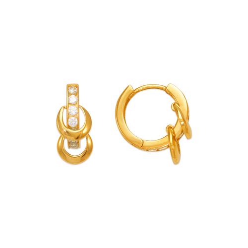 443-116 Double Loop CZ Huggie Earrings