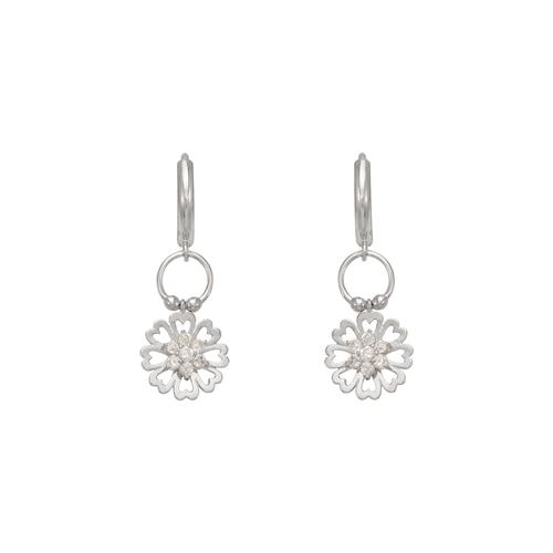 443-117W Fancy Flower CZ Earrings