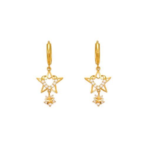 443-118 Fancy Heart and Star CZ Earrings