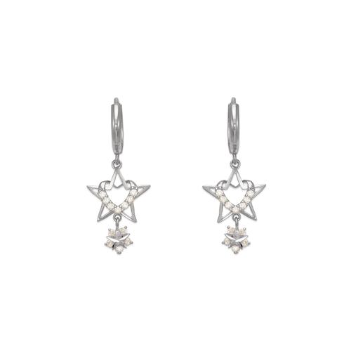 443-118W Fancy Heart and Star CZ Earrings