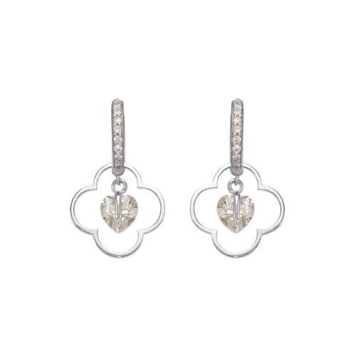 443-121W Fancy Flower CZ Earrings