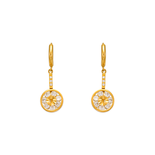 443-122 Fancy Circle Dangling CZ Earrings