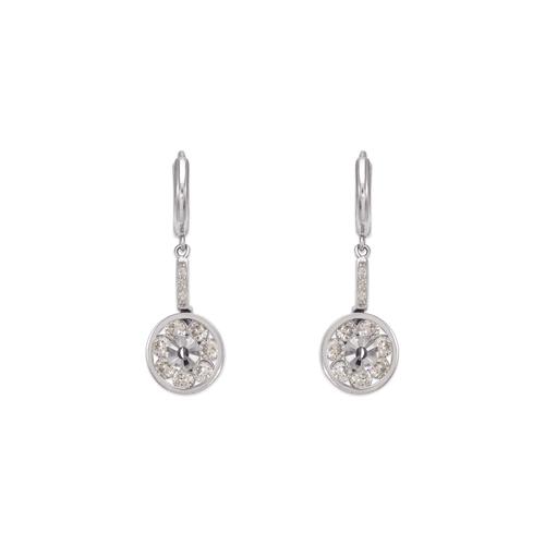443-122W Fancy Circle Dangling CZ Earrings