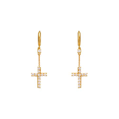 443-123 Fancy Cross Dangling CZ Earrings