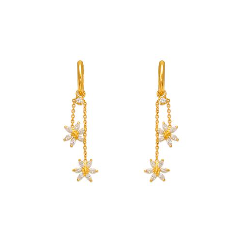 443-124 Fancy Double Flower Dangling CZ Earrings