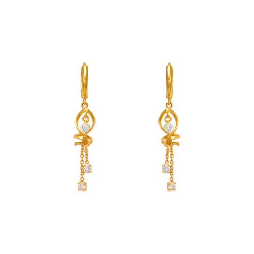 443-125 Fancy Swirl Dangling CZ Earrings