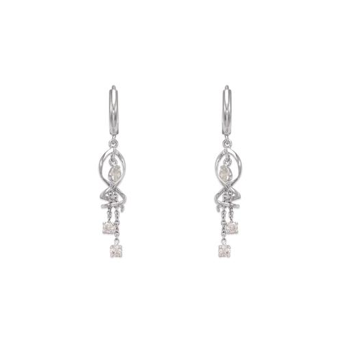 443-125W Fancy Swirl Dangling CZ Earrings