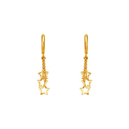 443-126 Fancy Triple Star Dangling CZ Earrings