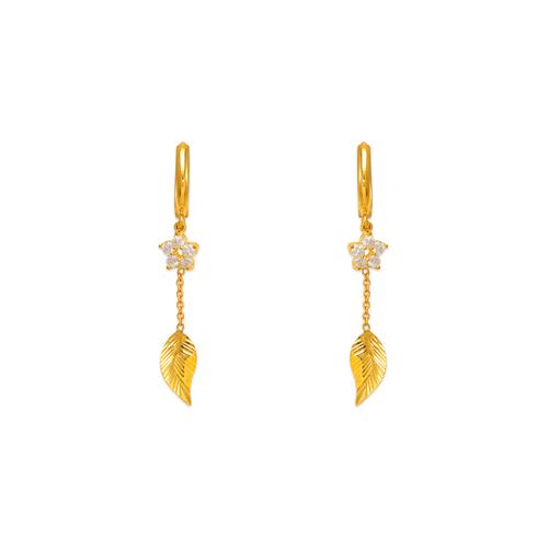 443-127 Fancy Leaf Dangling CZ Earrings