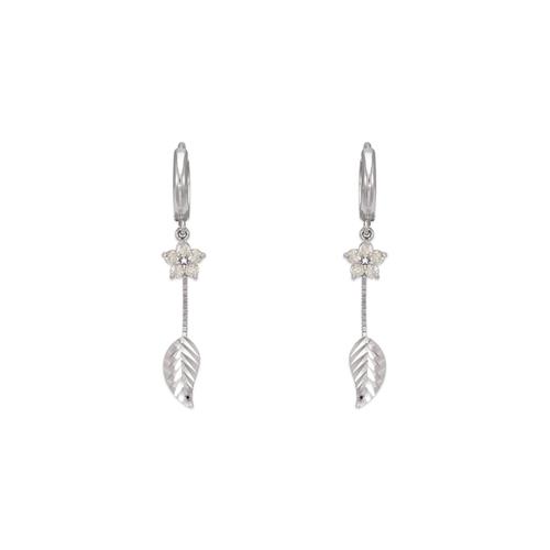 443-127W Fancy Leaf Dangling CZ Earrings