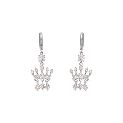 443-128W Fancy Crown CZ Earrings
