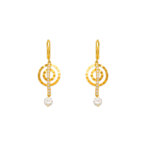 443-129 Fancy Double Circle Dangling CZ Earrings