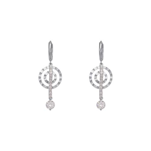 443-129W Fancy Double Circle Dangling CZ Earrings