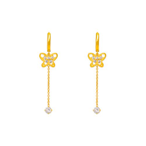 443-130 Fancy Butterfly Dangling CZ Earrings