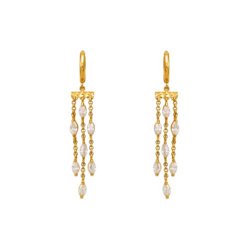 443-131 Fancy Chandelier Dangling CZ Earrings