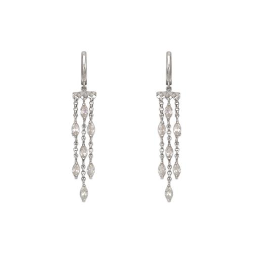 443-131W Fancy Chandelier Dangling CZ Earrings
