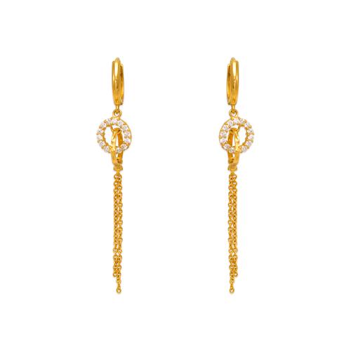 443-132 Fancy Looped Circle Dangling CZ Earrings