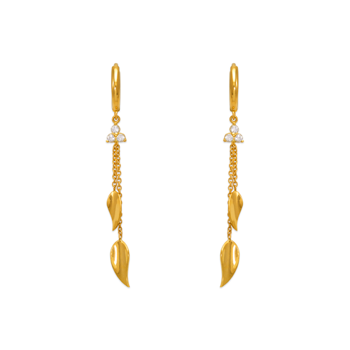 443-133 Fancy Double Leaf Dangling CZ Earrings