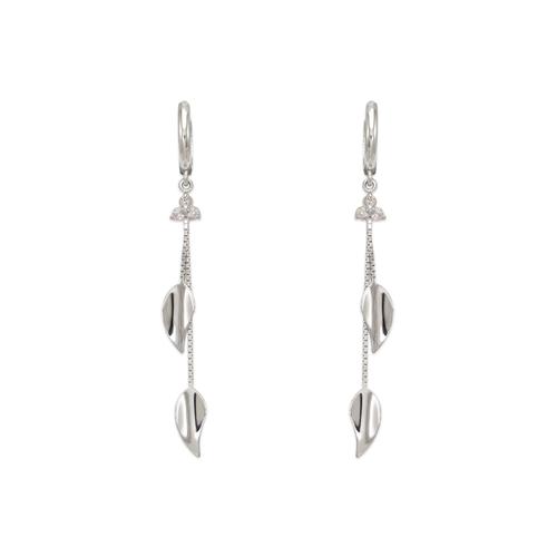 443-133W Fancy Double Leaf Dangling CZ Earrings