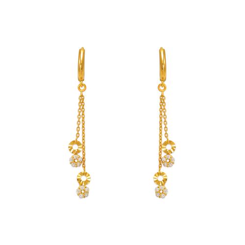 443-135 Fancy Layered Circle Dangling CZ Earrings
