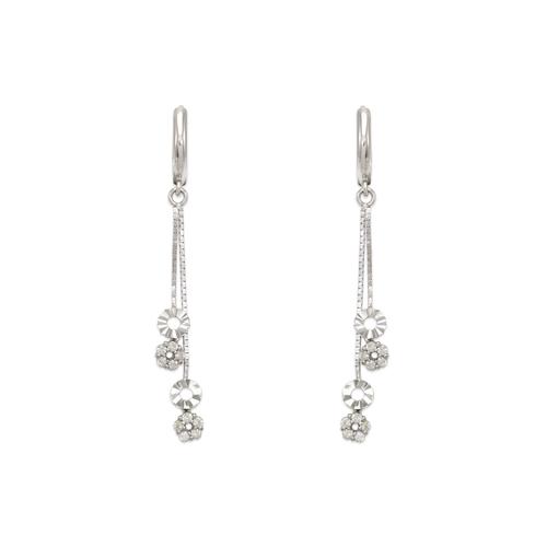 443-135W Fancy Layered Circle Dangling CZ Earrings