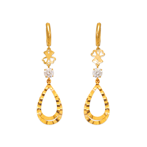 443-136 Fancy Double Teardrop CZ Earrings
